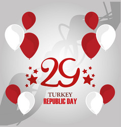 Turkey republic day white and red balloons vector