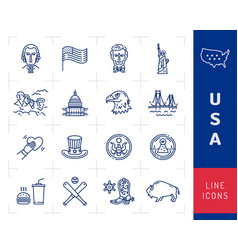 usa icon set american culture icons usa flag vector image