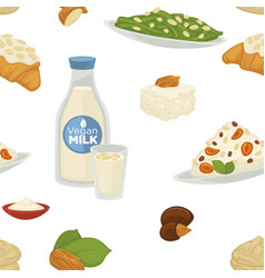 vegan milk dairy products and bakery sweets food vector image