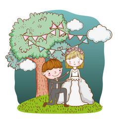 wedding couple cute cartoon vector image