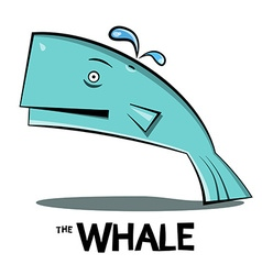 Whale Cartoon Big Fish Splashing Water Isolated on vector image