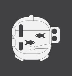 White icon on black background astronaut helmet vector