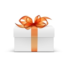 White Square Gift Box with Orange Ribbon and Bow vector