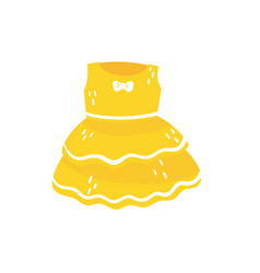 yellow fluffy dress with little bow cute clothing vector image