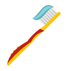 Yellow toothbrush with toothpaste icon isolated vector