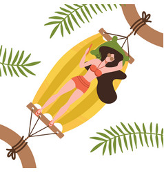young woman character lying in a hammock under vector image