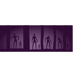 Zombie silhouettes in dark forest vector