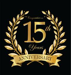 anniversary golden laurel wreath 15 years 5 vector image