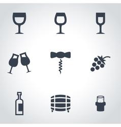 black wine icon set vector image vector image