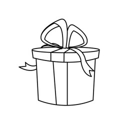 christmas round present box gift ribbon decoration vector image vector image