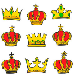 Collection crown glamour style doodle set vector