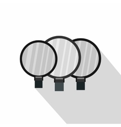 Magnified lenses icon flat style vector