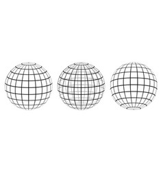 set graticule 3d globe meridian and parallel vector image