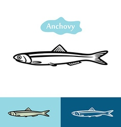 Anchovy silhouette logo vector image vector image