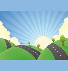 cartoon landscape road in the summer vector image