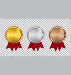 champion gold silver and bronze medal template vector image vector image