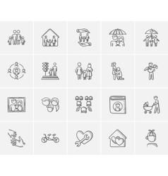 Family sketch icon set vector image