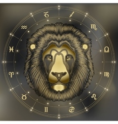 Golden lion portrait zodiac Leo sign vector image vector image
