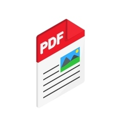 PDF file icon isometric 3d style vector image vector image