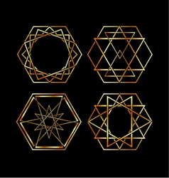 Set of Artistic hexagonal logos in gold vector image vector image