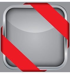 Silver blank app icon with red ribbon vector image vector image