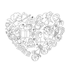 valentine icon set freehand drawing vector image