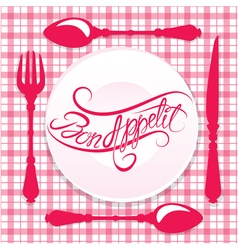 bon appetit calligraphy red 380 vector image vector image