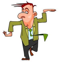 cartoon man in suit and tie funny dancing vector image vector image