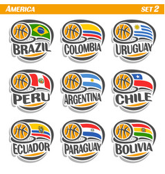 flags of american national basketball teams vector image vector image
