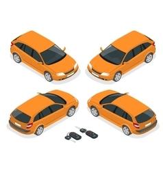 Isometric hatchback and car keys 3d flat vector image vector image