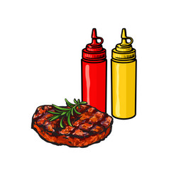 ketchup mustard and grilled roasted steak vector image