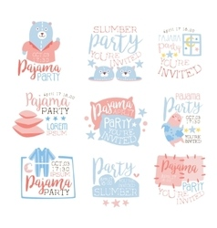 Pink and blue girly pajama party invitation vector