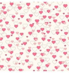Pink hearts seamless pattern beige background vector image
