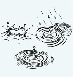 Rain drops in the water vector image vector image