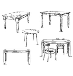 set of hand drawn tables vector image vector image
