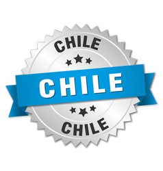 chile round silver badge with blue ribbon vector image vector image