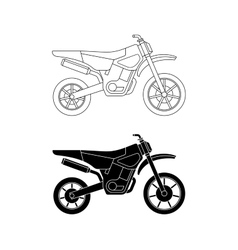 Motorcycle line icons vector image vector image