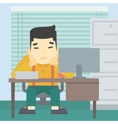 Tired man sitting in office vector image