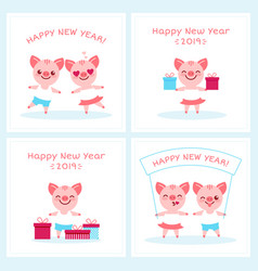 2019 happy new year zodiac pig sign character set vector image