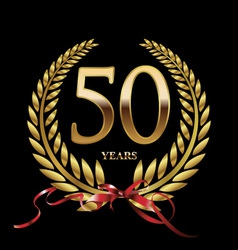 50 years anniversary laurel wreath vector