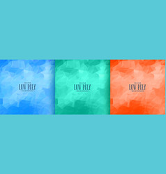 abstract low poly background set in three colors vector image