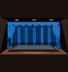 an empty stage with blue curtain vector image