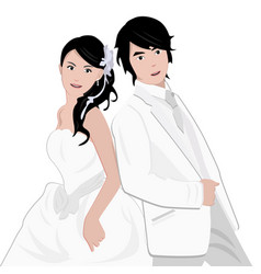 Asian couple wedding artwork showing bride and vector