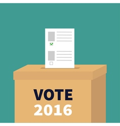 Ballot voting box paper blank bulletin with green vector