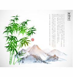 bamboo tree and mountains hand drawn with ink on vector image