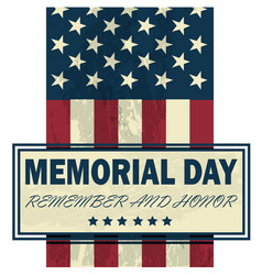 banner memorial day usa flag on gray vector image