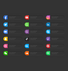 Banners social media network lower third icons set vector