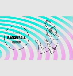 basketball slam dunk basketball girl player vector image