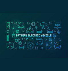 battery electric vehicle colored linear vector image