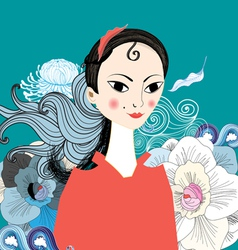 beautiful portrait of east girl vector image